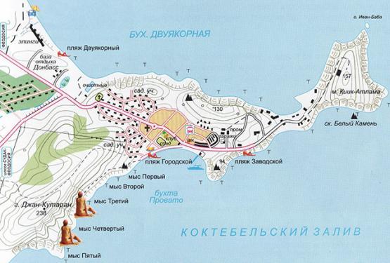 Карта нудистских пляжей Орджоникидзе
