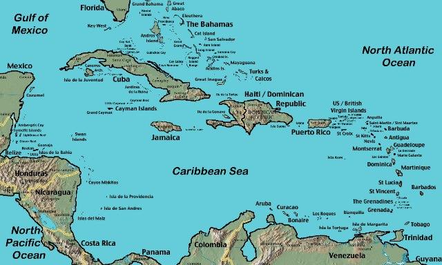 Райские острова Карибы Карта