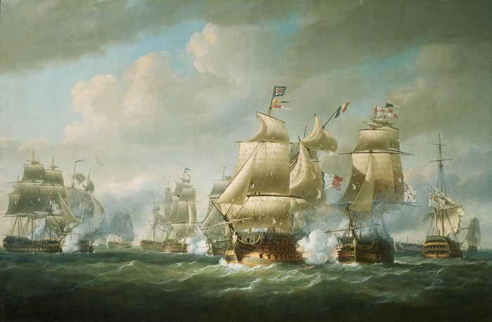 Флот Колумба у берегов Гаити