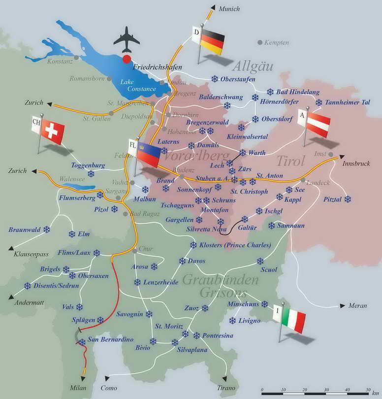 Горнолыжные курорты Италии Карта