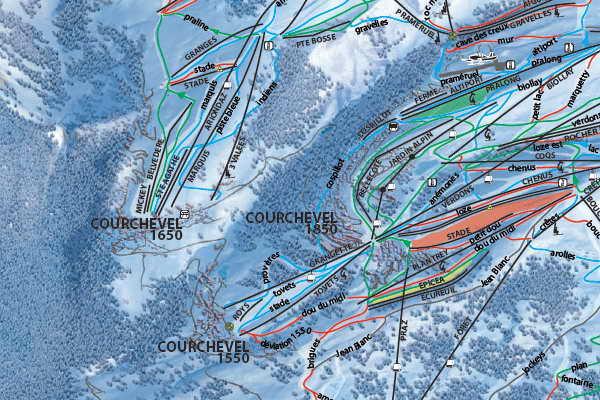 Карта трасс на склонах Куршавеля