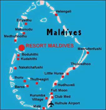 Карта Мальдивскме острова