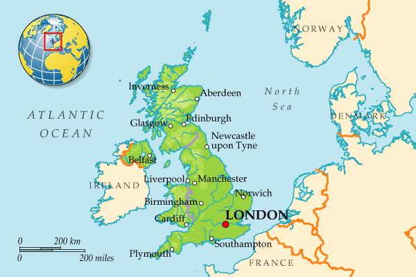 Великобритания карта