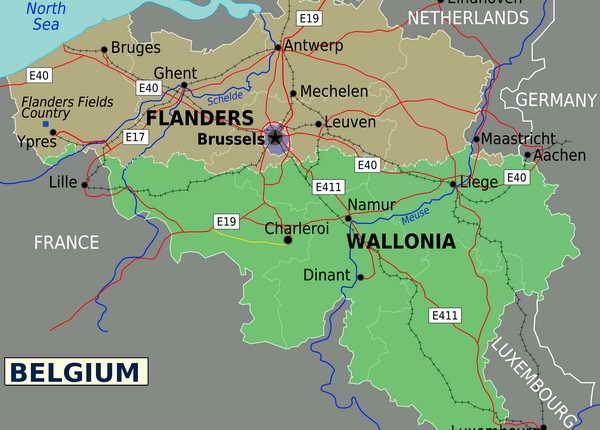 Бельгия карта